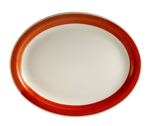 "CAC China R-13NR-RED Rainbow Narrow Rim Red Oval Platter,11 1/2"" x 9"""