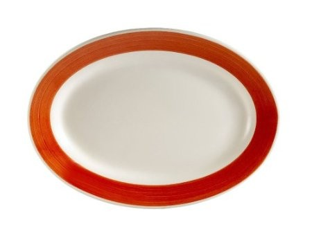 "CAC China R-51-RED Rainbow Rolled Edge Red Oval Platter, 15-1/2"" x 10"""