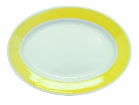 """CAC China R-14-Y Rainbow Yellow Rolled Edge Oval Platter, 12-1/2"""" x 6-5/8"""""""""""