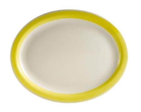 """CAC China R-13NR-Y Rainbow Narrow Rim Yellow Oval Platter,11 1/2"""" x 9"""""""