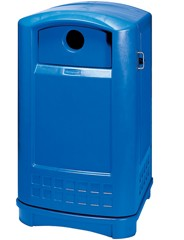 Plaza Recycling Container, Rectangular, Plastic, 50 gal, Blue