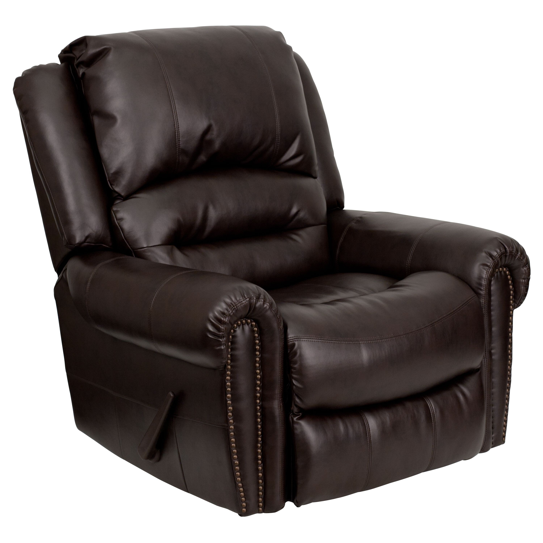 Flash Furniture MEN-DSC01056-BRN-GG Plush Brown Leather Rocker Recliner