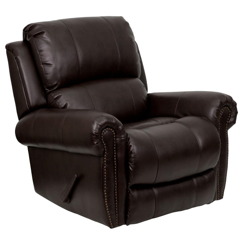 Plush Brown Leather Rocker Recliner, 39''W x 38 - 66''D x 41''H