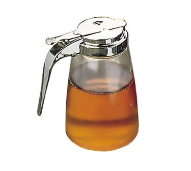 TableCraft P10 Clear Polycarbonate 10 oz. Syrup Dispenser with Chrome Metal Top