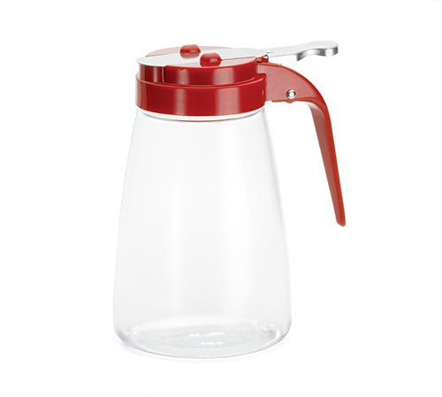Polycarbonate 10 Oz. Syrup Dispenser With Red Lid