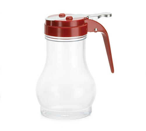 TableCraft P410RE Teardrop Polycarbonate 10 oz. Syrup Dispenser with Red ABS Top