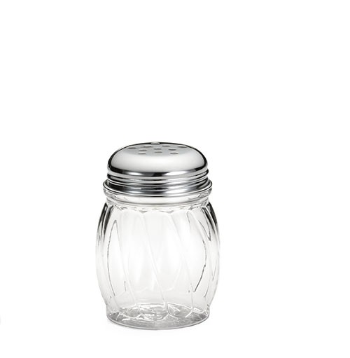 TableCraft P260 Polycarbonate 6 oz. Shaker with Chrome-Plated Perforated Top