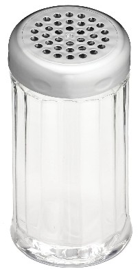 TableCraft P800CH Fluted Polycarbonate Shaker 12 oz. with Chrome Perforated Plastic Top