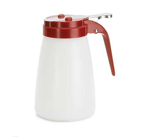TableCraft MW10RE Plastic 10 oz. Syrup Dispenser with Red ABS Top