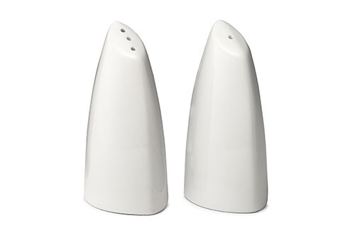 TableCraft 182 Porcelain Slanted Salt and Pepper Shakers, 2 oz.