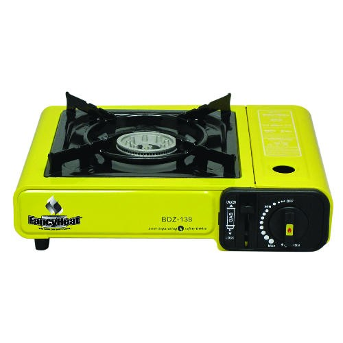 Portable Butane Stove, 9925 BTU, Piezoelectric Ignition, Yellow