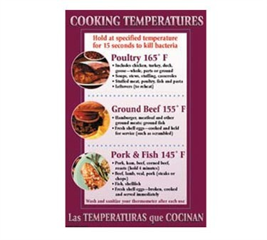 Franklin Machine Products  142-1500 Poster, Cooking Temperatures