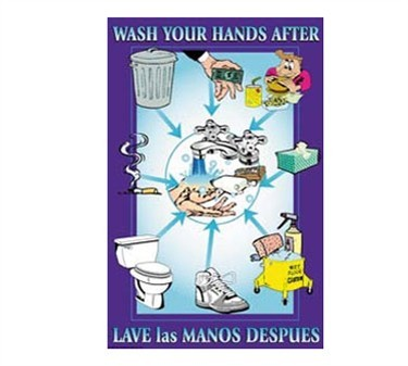 Franklin Machine Products  142-1498 Poster, Wash Your Hands After