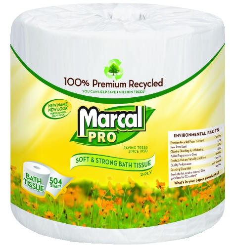 Premium 100% Recycled Bath Tissue, 2-Ply,White, 4.3 x 3.66, 504/Roll