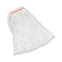 Premium Cut-End Cotton Mop, White, 16 oz, 1-in. Orange Headband