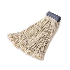 Premium Cut-End Cotton Mop Head, White, 24 oz. 5-in. Blue Headband