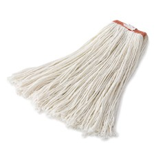 Premium Mop Heads, Rayon, Cut-End, White, 16 oz, 1-in. Orange Headband