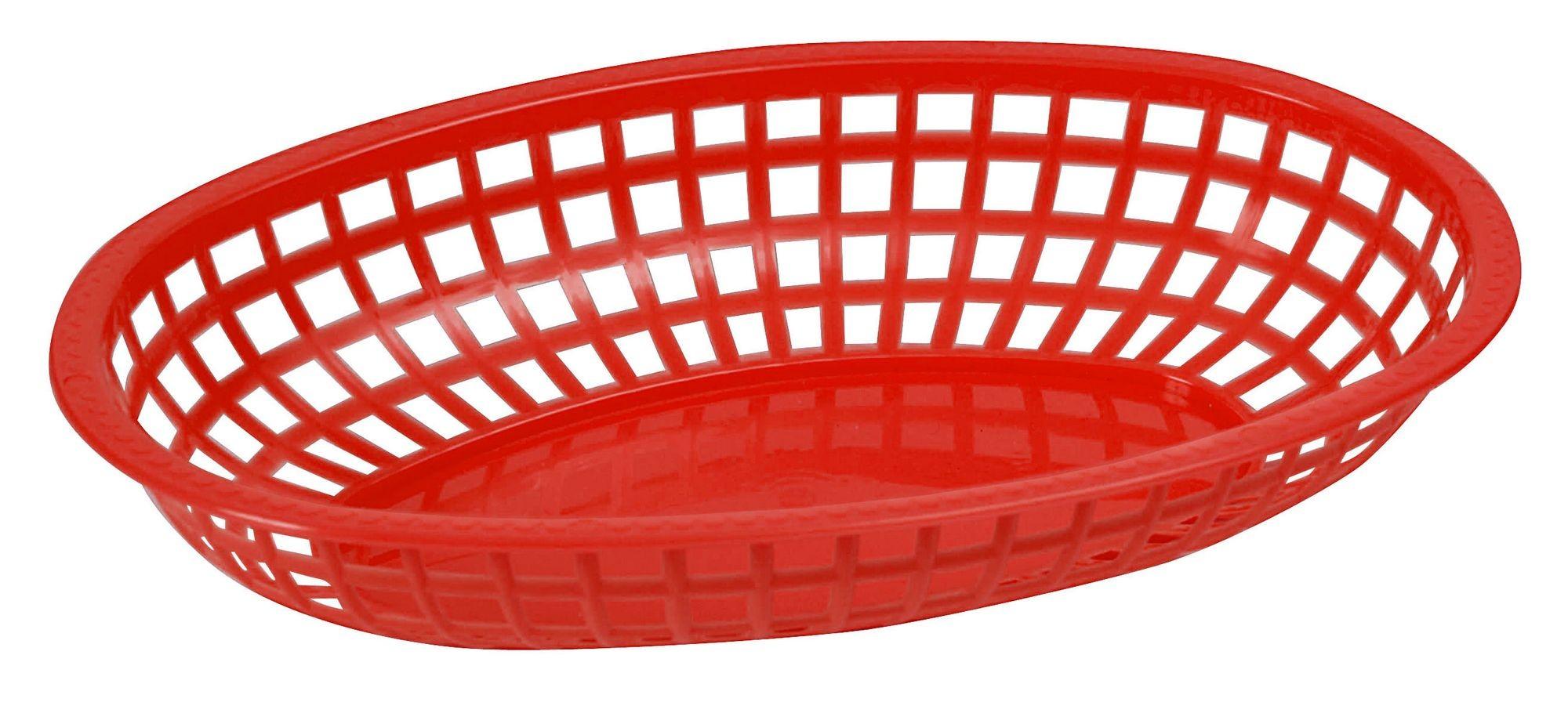 "Winco POB-R Red Premium Oval Basket 10-1/4"" x 6-3/4"" x 2"""