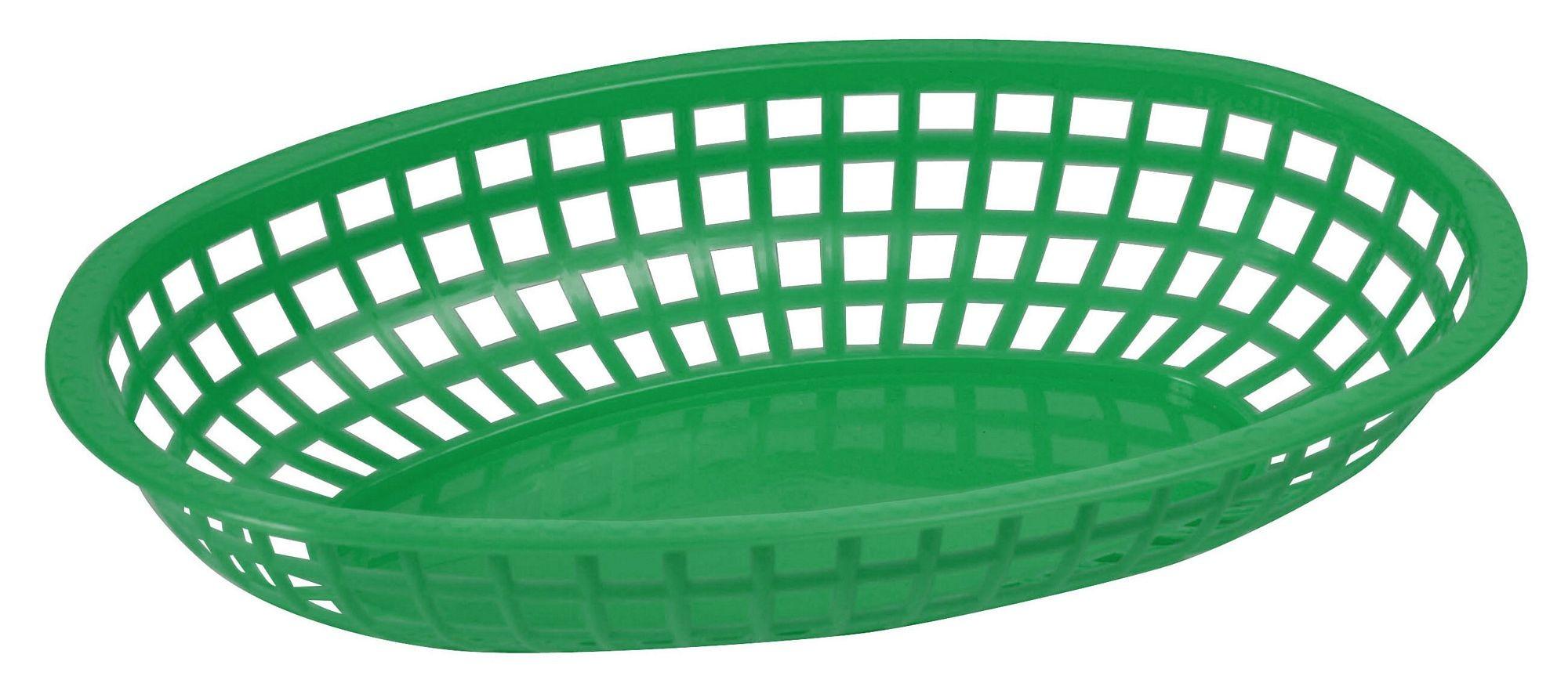 "Winco POB-G Green Premium Oval Basket 10-1/4"" x 6-3/4"" x 2"""