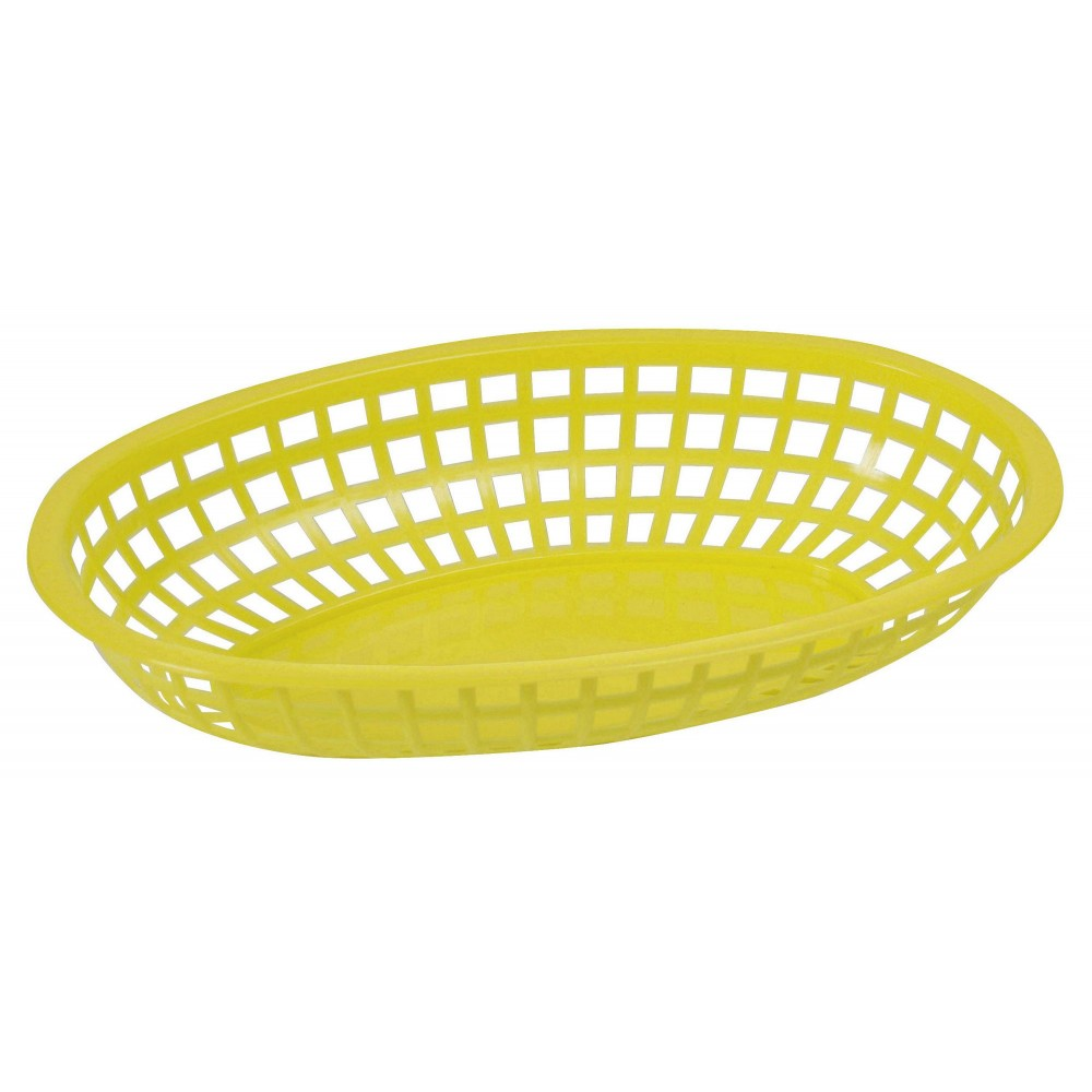 "Winco pob-y Yellow Premium Oval Basket 10-1/4"" x 6-3/4"" x 2"""