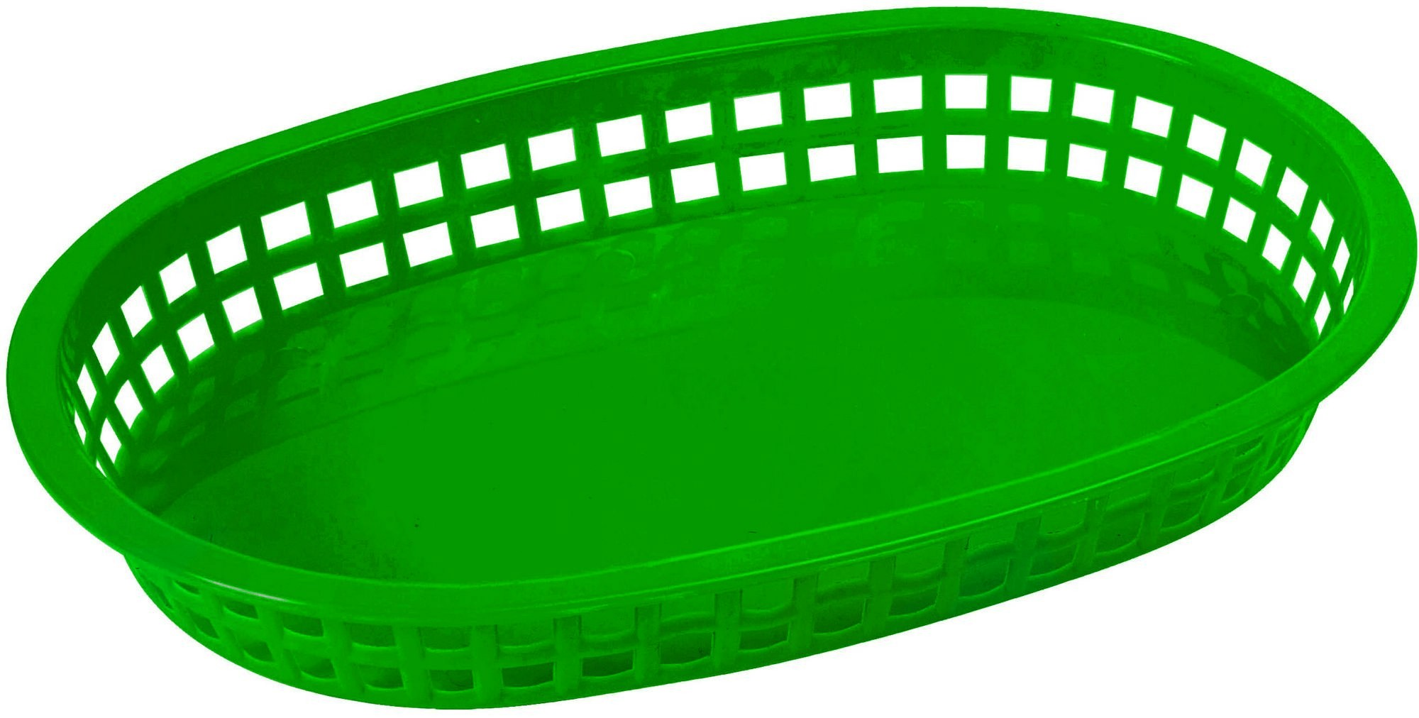 "Winco PLB-G Green Oval Fast Food Basket, 10-3/4"" x 7-1/4"" x 1-1/2"""