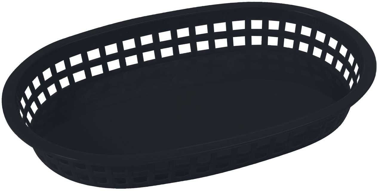 "Winco PLB-K Black Oval Fast Food Basket, 10-3/4"" x 7-1/4"" x 1-1/2"""
