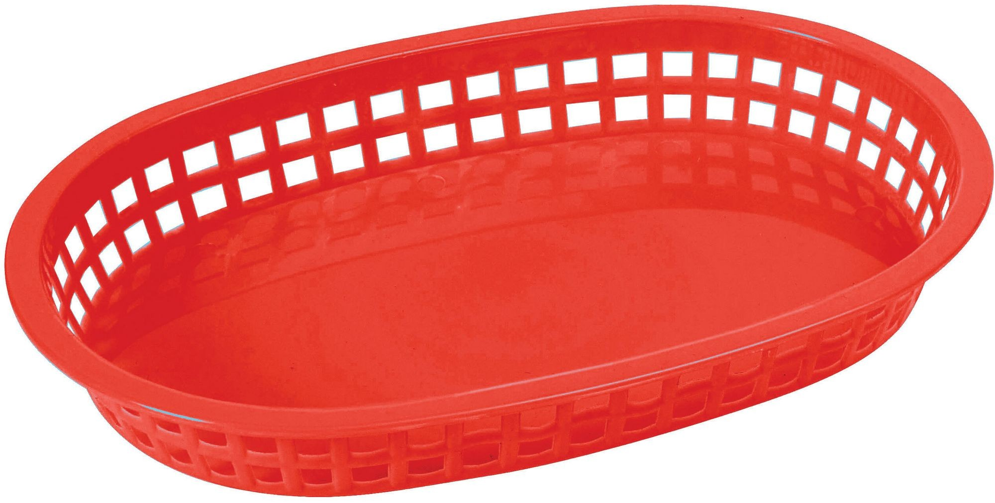 "Winco PLB-R Red Oval Fast Food Basket, 10-3/4"" x 7-1/4"" x 1-1/2"""