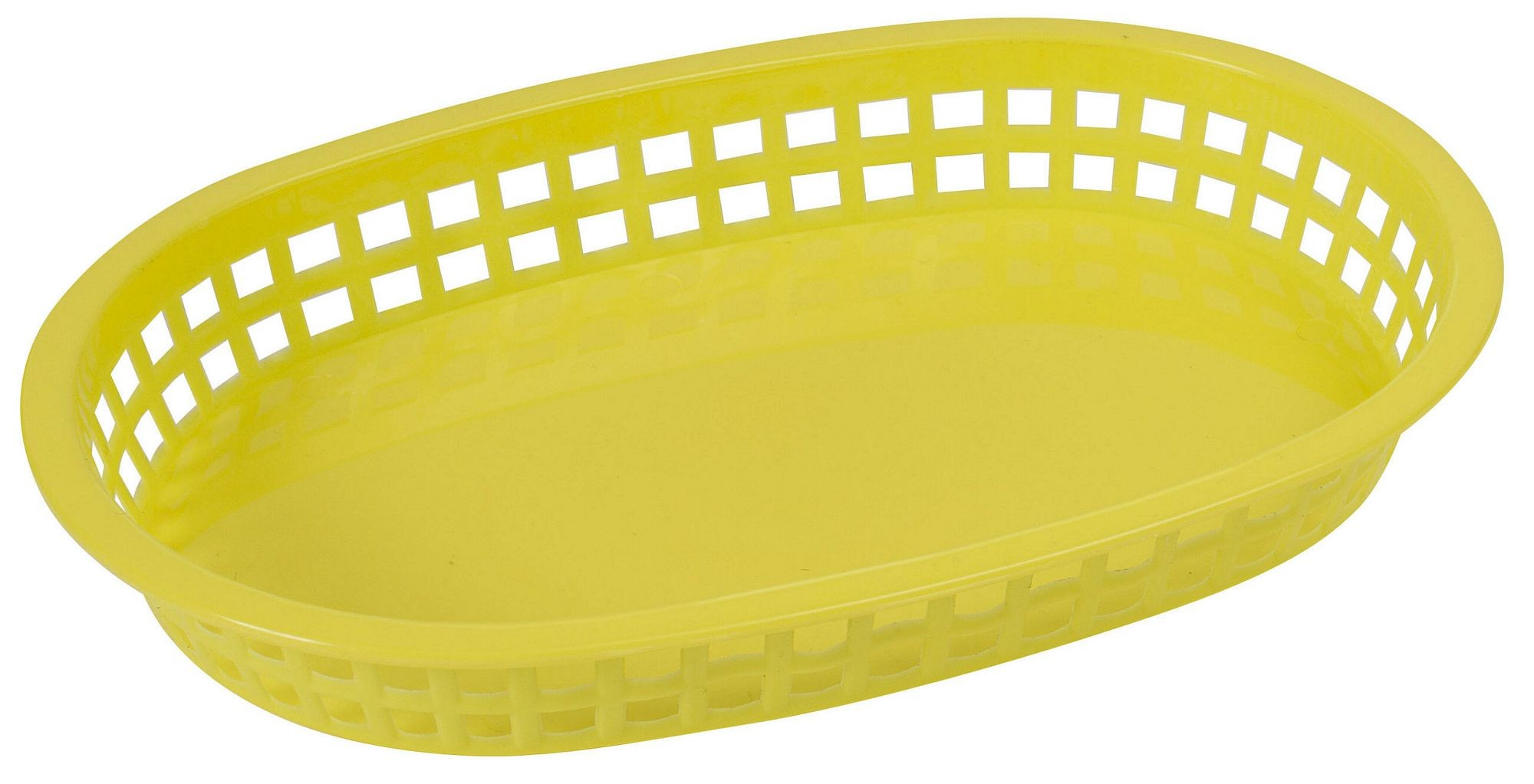 "Winco PLB-Y Yellow Oval Fast Food Basket, 10-3/4"" x 7-1/4"" x 1-1/2"""