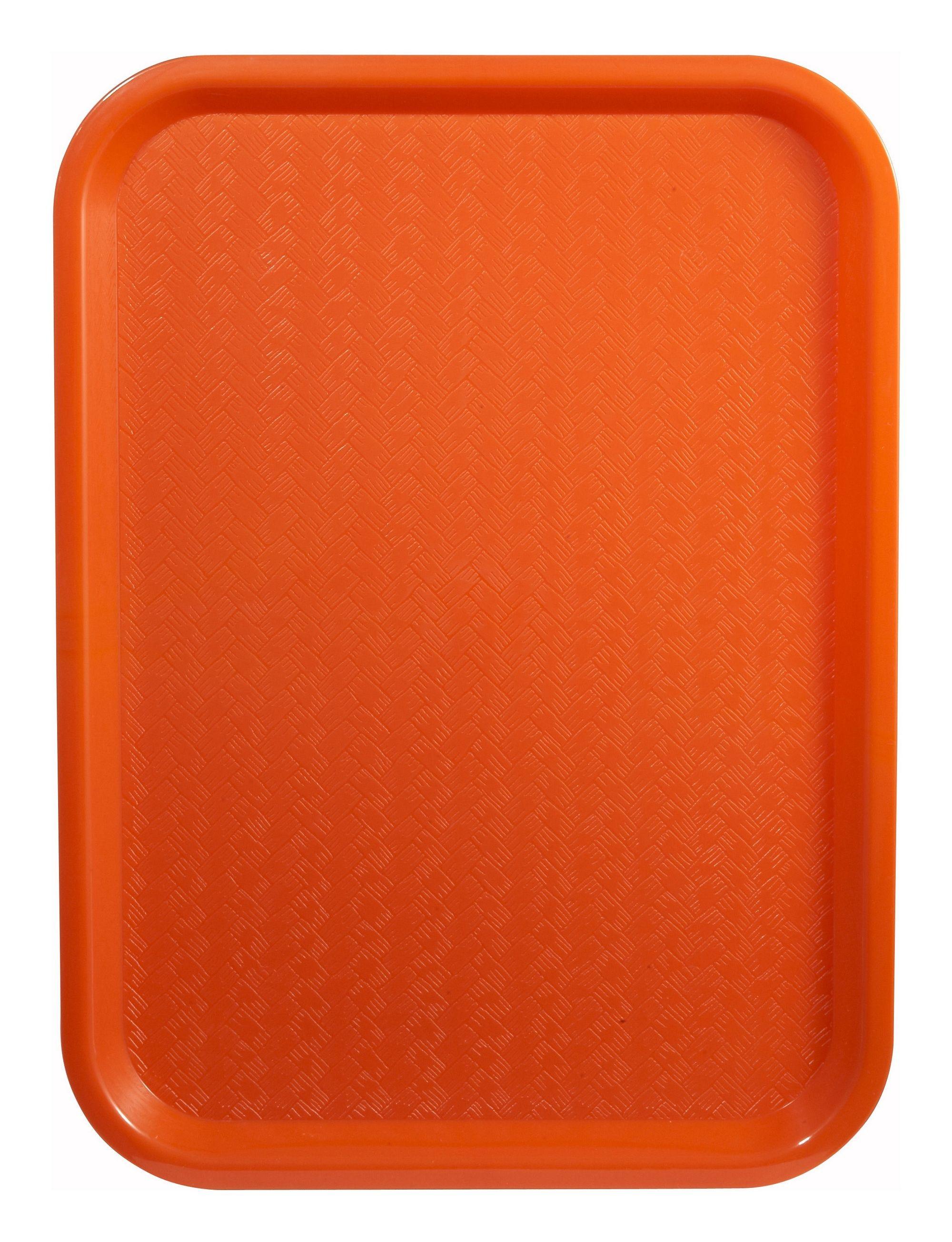 """Winco FFT-1014O Orange Plastic Fast Food Tray 10"""" x 14"""""""
