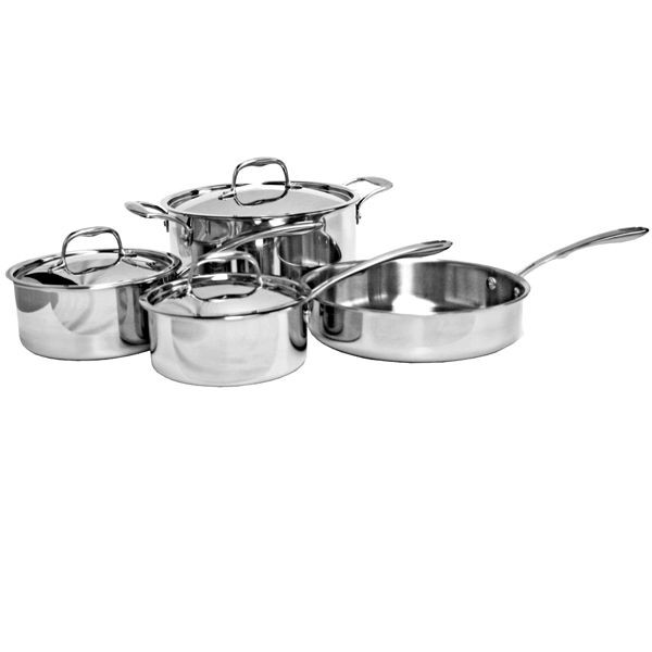 Thunder Group SLCK007 7 Piece Premium Tri-Ply Stainless Steel Cookware Set