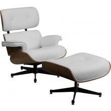 Presideo Top Grain White Italian Leather Lounge Chair and Ottoman Set with Beech Wood Finish and Metal Base