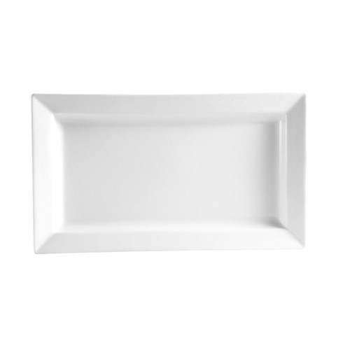 "CAC China PNS-41 Princesquare Porcelain 22 oz. Deep Rectangular Platter, 14"" x 7-1/2"""