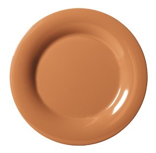 "G.E.T. Enterprises WP-10-PK Diamond Harvest Pumpkin Melamine 10-1/2"" Wide Rim Plate"