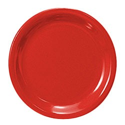 Thunder Group CR110PR Pure Red Melamine Narrow Rim Round Plate 10-1/2""