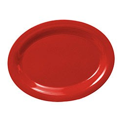 """Thunder Group CR212PR Pure Red Melamine Oval Platter, 12"""" x 9"""""""