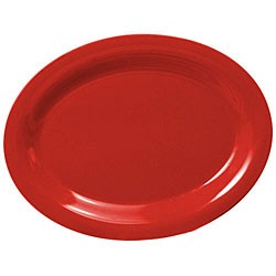 "Thunder Group CR213PR Pure Red Melamine Oval Platter, 13 1/2"" x 10 1/2"""