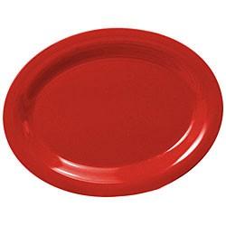 """Thunder Group CR213PR Pure Red Melamine Oval Platter, 13-1/2"""" x 10-1/2"""""""