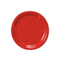 Thunder Group cr106pr Pure Red Melamine Narrow Rim Round Plate 6 1/2""