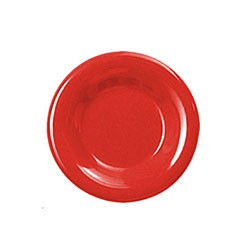 Thunder Group CR006PR Pure Red Melamine Wide Rim Round Plate 6 1/2""
