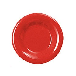 Thunder Group CR007PR Pure Red Melamine Wide Rim Round Plate 7-1/2""