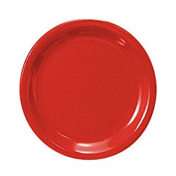 Thunder Group CR109PR Pure Red Melamine Narrow Rim Round Plate 9""