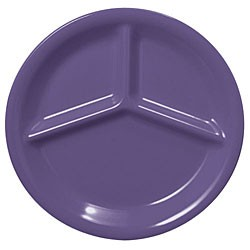"Thunder Group CR710BU Purple Melamine 3-Compartment Plate 10-1/4"" ."