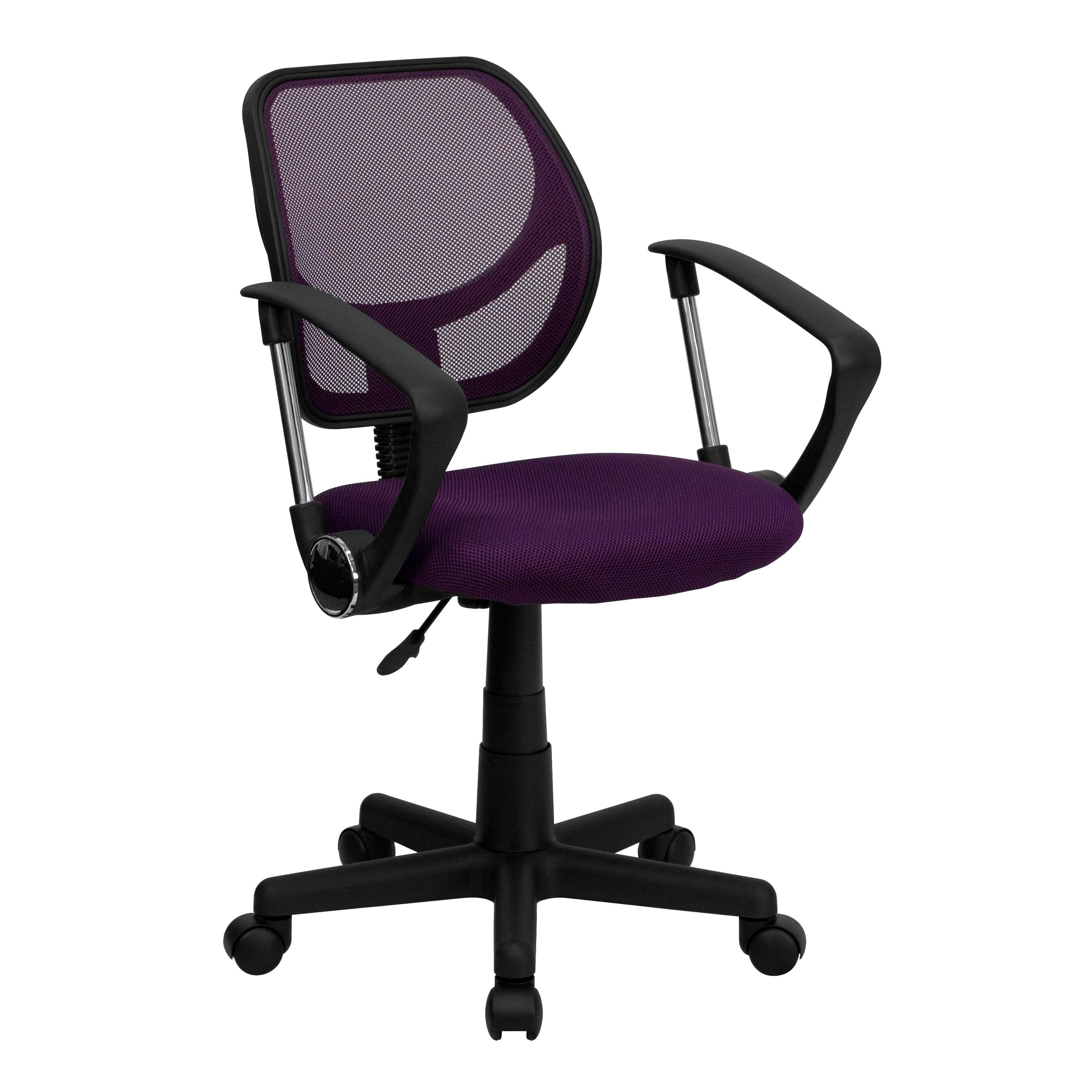 Flash Furniture WA-3074-PUR-A-GG Purple Mesh Computer Chair with Arms