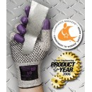 Purple Nitrile Cut Resistant Gloves, White & Black, Size 8, 24/Pack