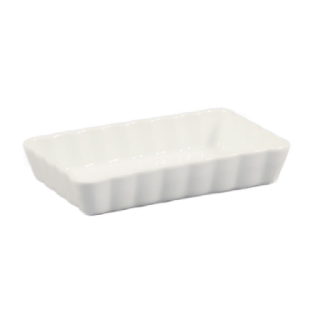 "CAC China qcd-rt7 Rectangular Fluted Quiche Dish, 7"" x 4 1/2"""