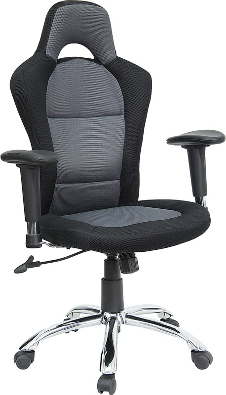 Race Car Inspired Bucket Seat Office Chair In Grey & Black Mesh