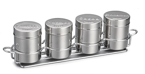 TableCraft 759x 4-Piece 6 oz. Seattle Series Shaker Set with Chrome Rack