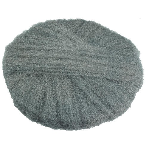 Radial Steel Wool Pads, Grade 1 (Med): Cleaning & Dry Scrubbing, 19 in Dia, Gray