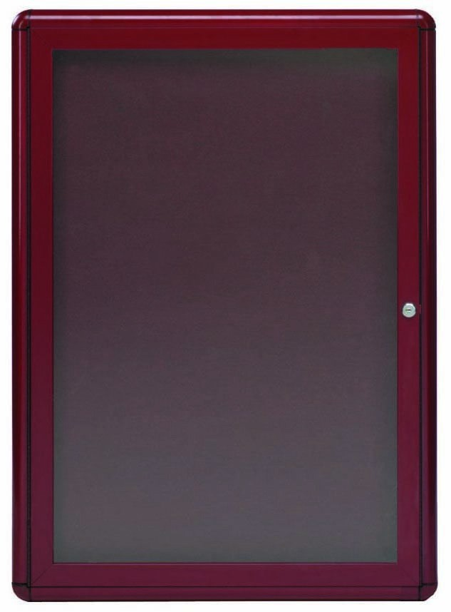 "Aarco Products RAB3624BU Radius Enclosed 1-Door Bulletin Board, Burgundy/Burgundy, 36""H x 24""W"