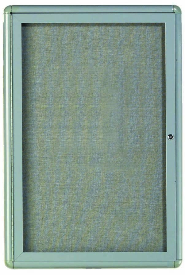 Radius Enclosed 1-Door Bulletin Board - Grey/grey - 36